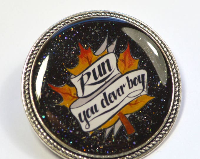 "Dr. Who Doctor Who Clara ""Run You Clever Boy"" Hand Painted Resin Brooch"