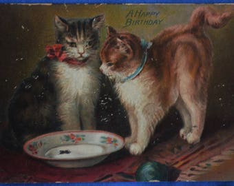 Tuck A Happy Birthday Kitty Cats Bowl of Cream Antique Divided Back Postcard 1910