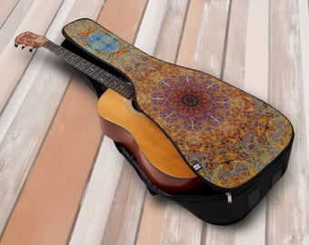 Soft Acoustic or Electric Guitar Case Boho Spyrograph Lacy Mandala Hippie Inspired Print