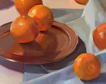 """Art painting still life by Sarah Sedwick """"Six Cuties"""" 10x10 inches, oil on canvas"""