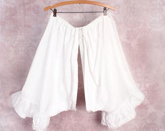 1800's 1900's Antique Split Crotch Leg Bloomers Underwear Victorian Edwardian Pantaloons - White Cotton, Vintage