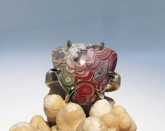 Lace Agate Ring, red stone ring, gray stone ring, natural hand cabbed, prong set agate ring