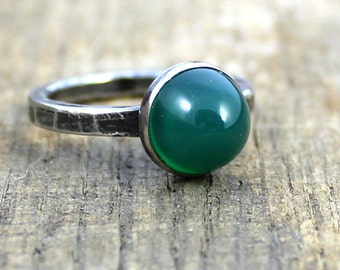 READY TO SHIP - Sterling Green Chrysoprase Stacker Ring - Size 7.5