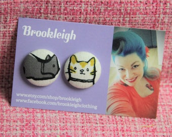 Kitty Cat HYPOALLERGENIC 23mm earrings, 50s style, Rockabilly Retro Inspired