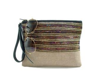 Clutch Purse, Boho Summer Wristlet, Casual Woven Clutch Bag