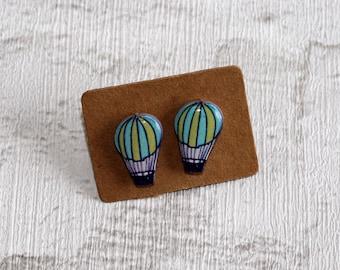 Hot Air Balloon Earrings, Teeny Tiny Earrings, Flying Jewelry, Cute Earrings