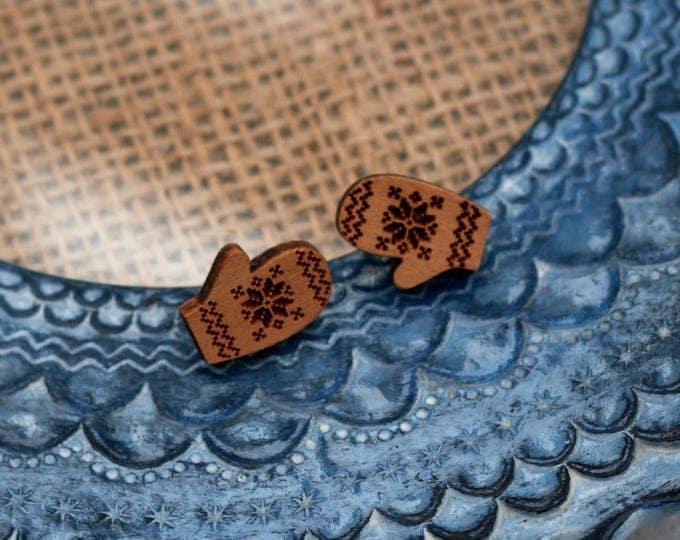 Mittens Earrings, Wooden Gloves Earrings