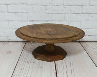 Vintage Round Wood Cake Stand