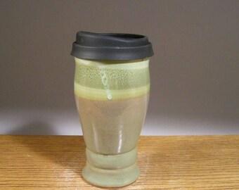 22 oz , To Go Mug ,Handmade Pottery, Pottery Mug With Lid , Ceramic Travel Mug , Commuter Mug , Pottery Travel Mug , Reusable Silicone Lid