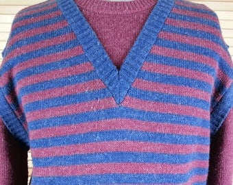 Vintage 80s Levi's striped pullover sweater size L large chest 44 relaxed