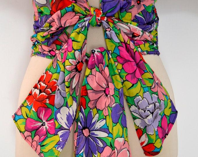 Beautiful Unique Vintage 1980's  Double TIE FLORAL Printed SHIRT Blouse