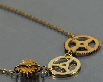 Brass Gear Choker- Upcycled Clock Gear Necklace, Steampunk Jewelry, Steampunk Necklace, Brass Cog Necklace by Tanith Rohe