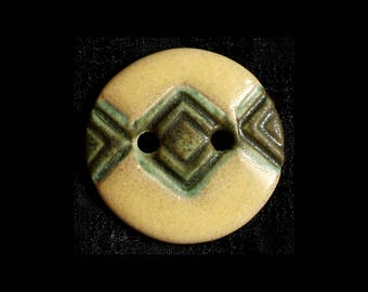 Handmade Ceramic Buttons: Butter Yellow and Stone Sage Greens