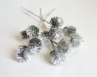 Small Silver Pine Cones - Three Stems of Kitsch Plastic Pinecones - Ideal for Christmas Crafts or Decoration