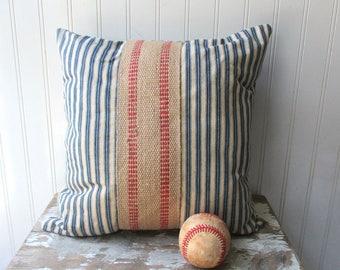 Ticking pillow vintage navy blue off white ticking stripe pillow with burlap jute grainsack red stripe Farmhouse Cottage Chic