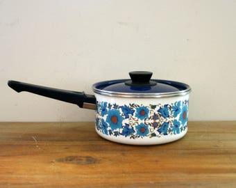 vintage 1970s Blue Floral Print Enamel Cooking Pot With Blue Lid