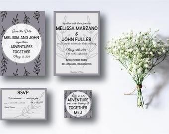 Wedding Invitation Suite, Invitation Kit, Save the date, Invitation, RSVP, Sterling purple, Modern, Chic, Minimal, Digital, Printable, DIY