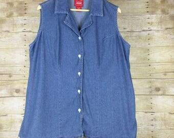 Vintage Blue Denim Sleeveless Button Top Misses XL 14 16 Venezia Jeans 90s