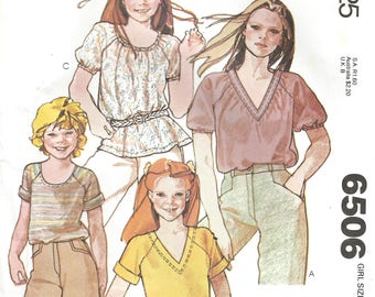 1970s McCall's 6506 Vintage Sewing Pattern Girl's Blouse, Casual Blouse, Short Sleeve Blouse Size 10