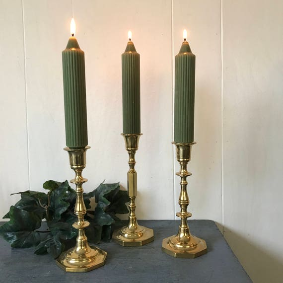 vintage brass candlestick holders - lacquered gold metal candle holders - Set of 3