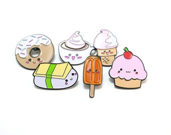 3 Combo Pack, Pick Your Own Soft Enamel Pin Collection, Kawaii Food Pins, Food Jewelry, Kawaii Pin, Lepel Pins