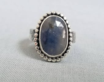 Sapphire ring / blue sapphire ring / September birthstone / rose cut sapphire / natural sapphire / sapphire jewelry / untreated sapphire