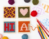 DIY Cross Stitch Wood Coaster Kit- Set of Four, Personalized DIY Gift, Customizable Monogram, Alphabet pattern, Embroidery kit