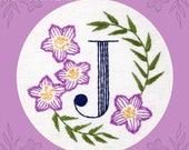 Monogram Flower PDF Pattern - J is for Jacob's Ladder