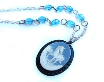 Glitter Unicorn Cameo Necklace - Blemish Clearance