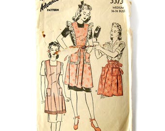 1940s Vintage Apron Pattern - Advance 3313 - Bib APRON with Ruffles - Half Apron with Pockets  / Frilly Apron / 36-38 Bust