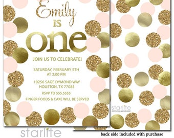 Pink Gold Glitter Dots 1st Birthday Invitation Girl