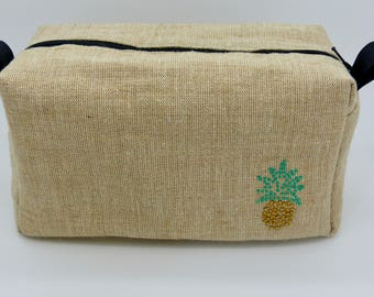 Make-up bag, wash bag, zip purse, cosmetic bag, cosmetic case, pineapple diamonte jute lined zip bag, pencil case, zip pouch, toiletry bag.