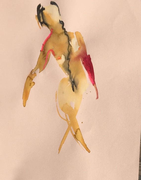 Nude painting of One minute pose 109.7 Original painting by Gretchen Kelly