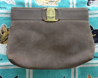 Vintage 1980's greige grey taupe putty nubuck Ferragamo clutch shoulder bag
