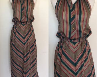 70s Halter Dress | 1970s Striped Summer Dress