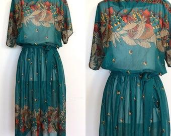 70s Boho Peasant Dress | 1970s Boatneck Geometric Print Dress