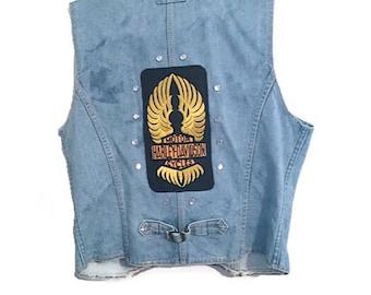 Vintage denim vest with Harley Davidson logo patch - Unisex - Retro biker clothing