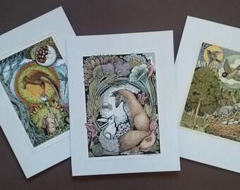 Art cards,note card,greeting card,garden,nature,Ink, color pencil,original,fox, bird,tree,rabbit,bright,pencil, forest,flower,nest.