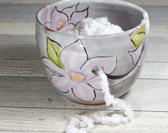Yarn Bowl with Flowers Hand Painted