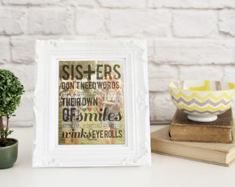 Sister in Law Gift, Sisters By Marriage, Sister in Law Gift Idea, Custom Sister in Law Gift, Sisters Don't need words / H-Q04-1PS ZZ1