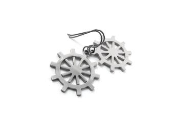 Silver ship wheel dangle earrings - Hypoallergenic pure titanium and stainless steel