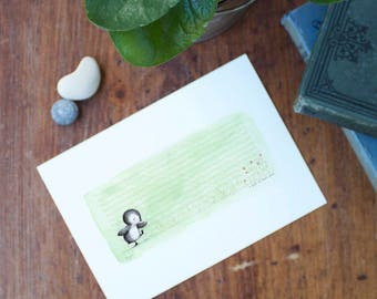 "tiny art print - wall art - penguin - garden - flowers - ""A Path of One's Own"""