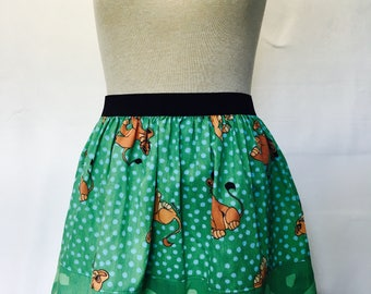 """Sweet Lion King 2 Skirt from vintage upcycled bedsheets - 34""""- 40"""" waist"""