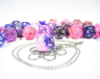 Purple & Pink d20 Necklace and Key Chain Combo With Removable Dice - Gifts for Geeks and Gamers
