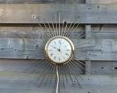 vintage wall clock, starburst wall clock, atomic clock, vintage gold decor, Westclox canada, MCM clock , Midcentury decor, Mad men style