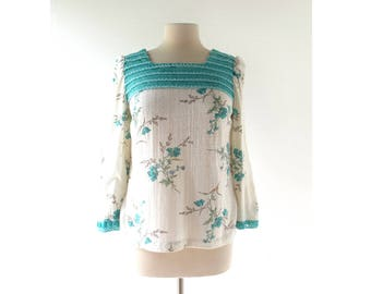 70s Peasant Top | Wild Blue | Embroidered Floral Top | Medium M
