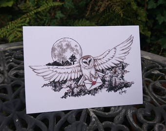 Barn Owl Card - Post Owl - blank owl card - moon, letter, wax seal, owl art, pen and ink, illustration, birthday, flying, barn owl in flight