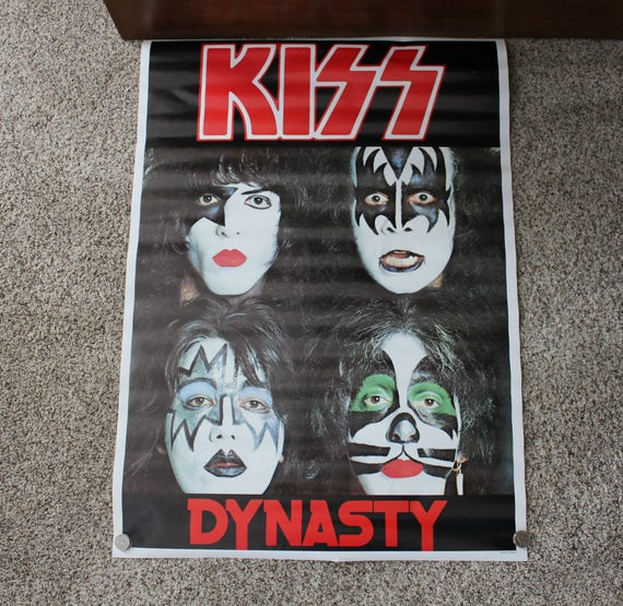 Vintage Kiss Dynasty Poster Made in England, 70s 80s Rock Metal Band Memorabilia