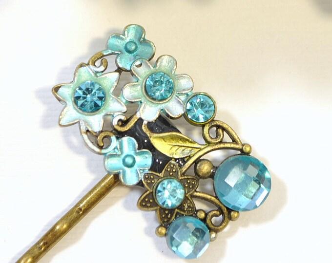 Blue Bobby Pin Flower Hair Pin Light Blue Bobbies Handmade Hair Accessories Something Blue