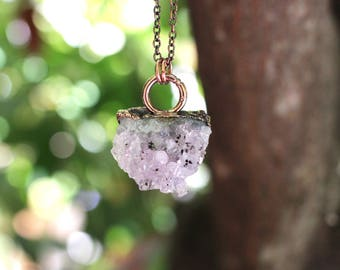 Raw Crystal Necklace Raw Amethyst Necklace Amethyst Crystal Cluster Necklace Amethyst Cluster Amethyst Pendant Healing Crystals and Stones